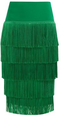 Tiered-fringe Stretch-jersey Pencil Skirt - Womens - Green