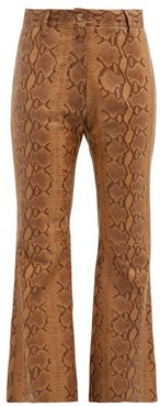 Vianna Python-print Leather Trousers - Womens - Brown