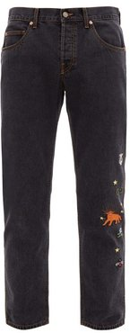 Embroidered Straight-leg Jeans - Mens - Black