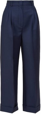 Turned-up Cuff Wool Trousers - Womens - Navy
