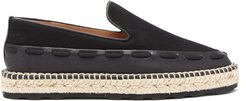 Canvas And Leather Espadrilles - Womens - Black