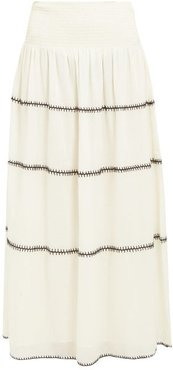 Lago Topstitched Cotton Maxi Skirt - Womens - Ivory