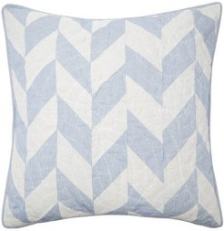 Andante Chevron-patchworked Cotton Cushion - Blue White