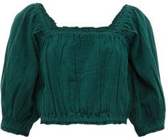 Francisca Shirred-trim Cotton Cropped Top - Womens - Dark Green