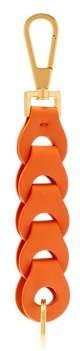 Chain-link Leather Key Ring - Womens - Orange Multi