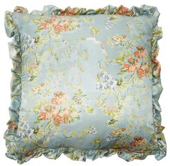 Ruffled Floral-print Satin Cushion - Green Multi