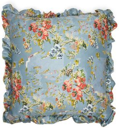 Ruffled Floral-print Satin Cushion - Light Pink
