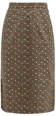 Strawberry-print Cotton Midi Skirt - Womens - Multi