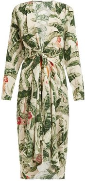 Knotted Tropical-print Silk Cover Up - Womens - Green