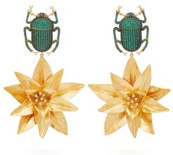 Pharoah Lotus Gold-plated Clip Earrings - Womens - Green