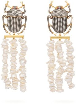 Pharoah Gold-plated & Pearl Clip Earrings - Womens - White