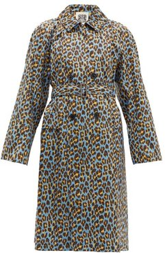 Leopard-print Cotton Trench Coat - Womens - Blue Multi