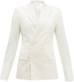 Double-breasted Cotton-blend Blazer - Womens - Cream