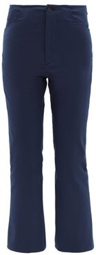 Mid-rise Cropped Kick-flare Cotton Trousers - Womens - Navy