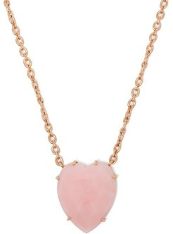 Opal Heart & 18kt Rose Gold Necklace - Womens - Pink