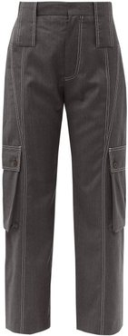 Cropped Wool Cargo Trousers - Womens - Grey