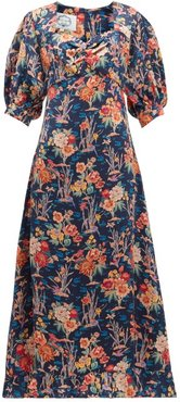 Vanessa Floral-print Silk-satin Dress - Womens - Navy Print