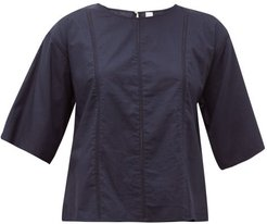 Foresta Embroidered-lace Cotton Blouse - Womens - Navy