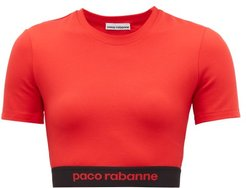 Logo-hem Jersey Cropped Top - Womens - Red