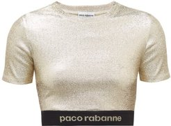 Logo-hem Metallic-jersey Cropped Top - Womens - Gold