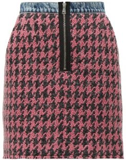 Houndstooth-tweed And Denim Mini Skirt - Womens - Pink Multi