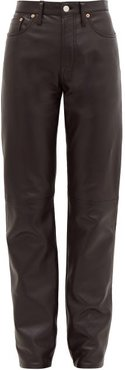 1997 High-rise Straight-leg Leather Trousers - Womens - Black