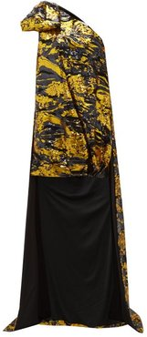 Asymmetric Abstract Sequinned Mini Dress - Womens - Gold Multi