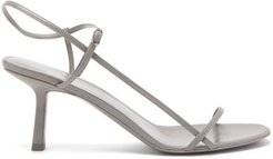 Bare Mid-heel Leather Sandals - Womens - Grey