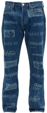 Logo-washed Straight-leg Jeans - Mens - Blue