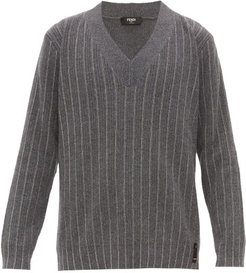 Chain-stripe V-neck Cashmere Sweater - Mens - Grey