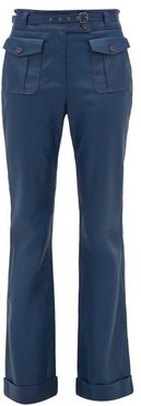 Nola High-rise Leather Trousers - Womens - Navy