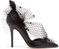 Gloria Feather, Mesh And Leather D'orsay Pumps - Womens - Black