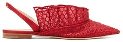 Odette Embroidered-ruffle Slingback Sandals - Womens - Red