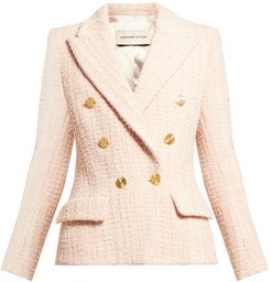 Double-breasted Wool-blend Tweed Jacket - Womens - Light Pink