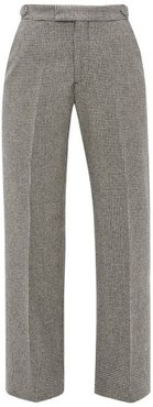 Celeste Houndstooth-check Wool Trousers - Womens - Black White