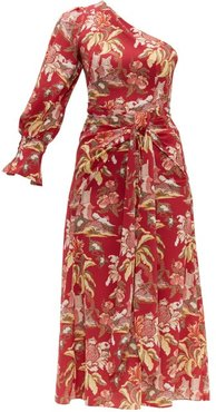 Floral-print One-shoulder Crepe Dress - Womens - Red Multi
