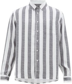 Perry Candy-striped Patch-pocket Lyocell Shirt - Mens - Black White