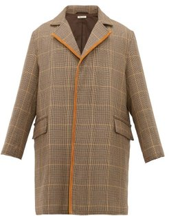 Single-breasted Checked Wool Overcoat - Mens - Beige