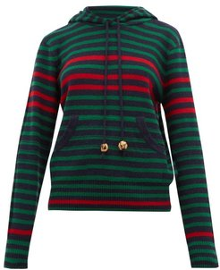 Striped Wool-blend Hooded Sweater - Womens - Navy Multi