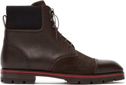 Citycroc Leather And Suede Lace-up Boots - Mens - Brown