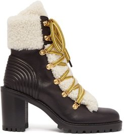 Yetita Shearling-trimmed Leather Ankle Boots - Womens - Black White