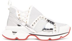 123 Run Studded Leather-trimmed Trainers - Womens - White Silver