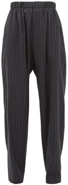 Chalk-striped Brushed Wool-twill Trousers - Womens - Grey