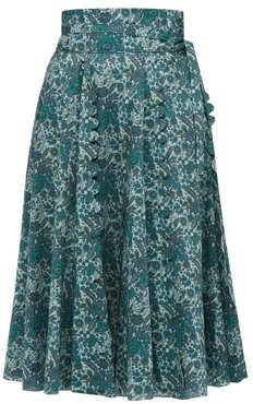 Sophie Scalloped Floral-print Cotton Skirt - Womens - Green Multi