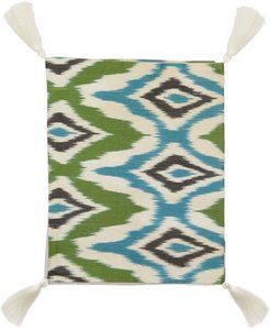 Ikat Silk And Cotton Table Runner - Green Print