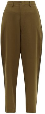 Tapered-leg Wool-blend Trousers - Womens - Green