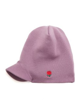 Rose-embroidered Beanie Hat - Mens - Purple