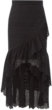 Amelie Ruffled Broderie-anglaise Cotton Midi Skirt - Womens - Black