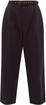High-rise Wool-blend Twill Cropped Trousers - Womens - Navy