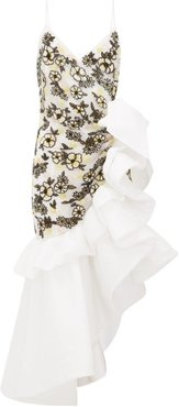 Ruffled Floral-beaded Silk-blend Tulle Dress - Womens - White Multi